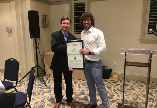 2017 ALSITE President Clark Bailey presents the 2017 Charles E. Alexander Scholarship Award to Harrison Forder, student at Auburn University.